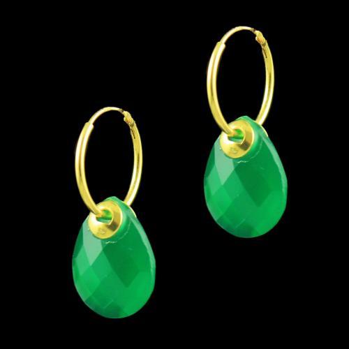GOLD PLATED ONYX BALI EARRINGS