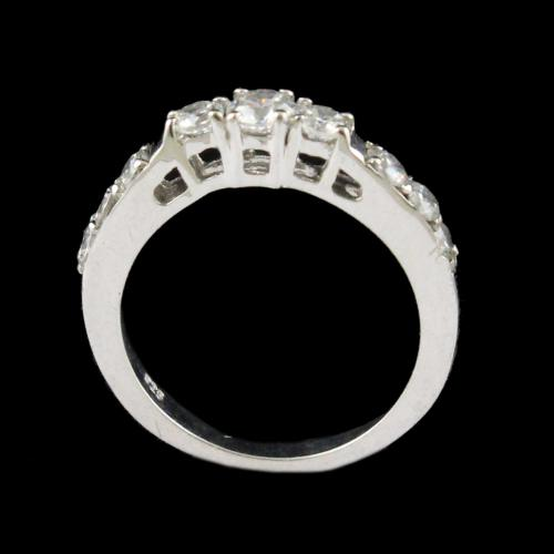 R13366 Sterling Silver Fancy Ring Studded Zircon Stones
