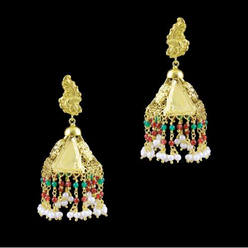 GOLD PLATED MULTI COLOR STONES EARRINGS
