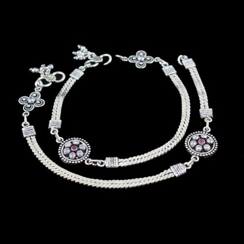 OXIDIZED SILVER RUBY AND CZ ANKLET