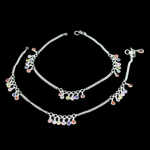 OXIDIZED SILVER MULTI COLOR STONES ANKLET