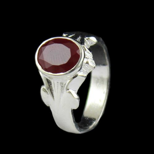 SILVER RED CZ RING