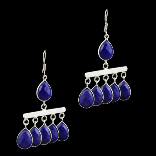 SILVER LAPIS LAZULI DROPS EARRINGS