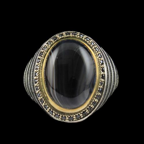 OXIDIZE BLACK AGATE RING