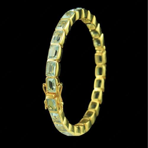 GOLD PLATED AQUAMARINE LOCK BANGLE