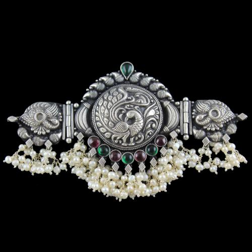 OXIDIZED SILVER LAKSHMI ARM BAND