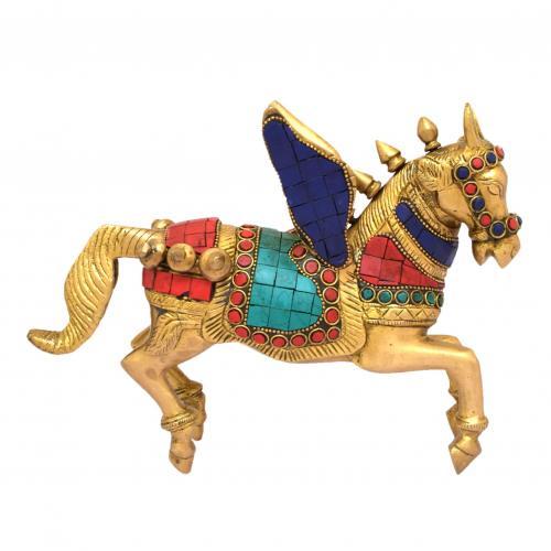BRASS HORSE CART