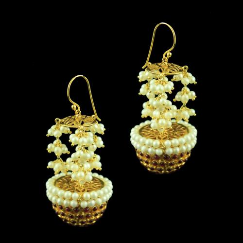 GOLD PLATED HANGING JHUMKA WITH RED ONYX AND PEARLS