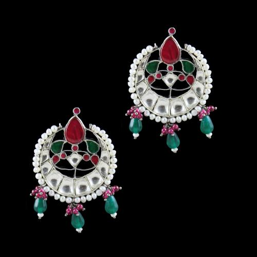 OXIDIZED SILVER KUNDAN CHANDBALI WITH MULTI COLOR STONES