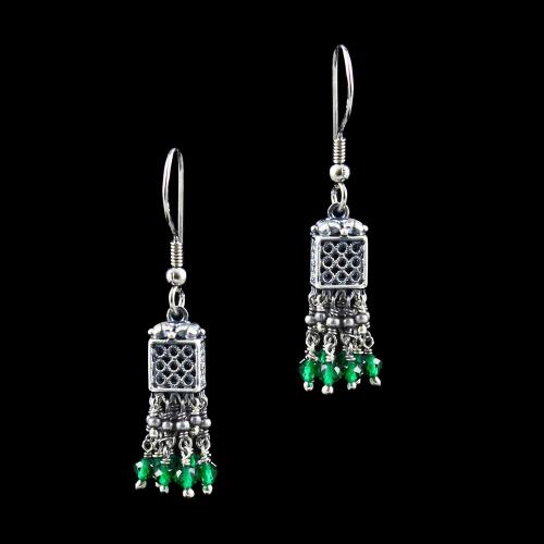 OXIDIZED SILVER JHUMKA WITH GREEN HYDRO BEADS