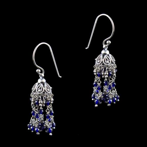 Oxidized Silver Hanging Jhumka With Blue Sapphire And Pearl Beads
