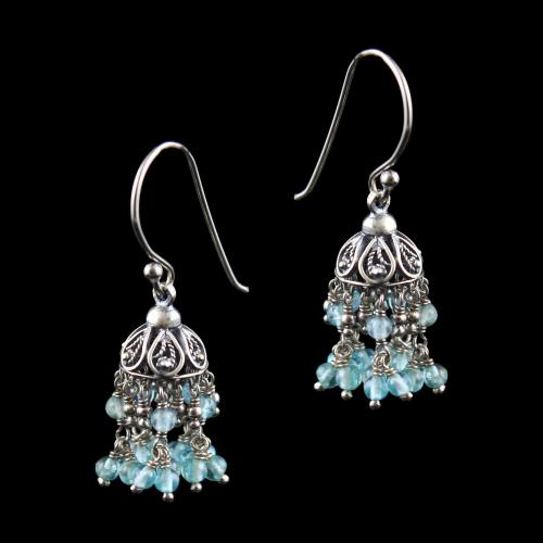 OXIDIZED SILVER HANGING JHUMKA WITH QUARTZ BEADS