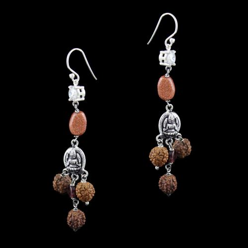 OXIDIZED SILVER HANGING EARRINGS WITH CZ AND RUDRAKSHA BEADS