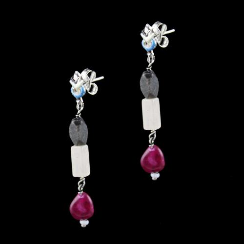 OXIDIZED SILVER EARRINGS WITH MULTI COLOR STONES