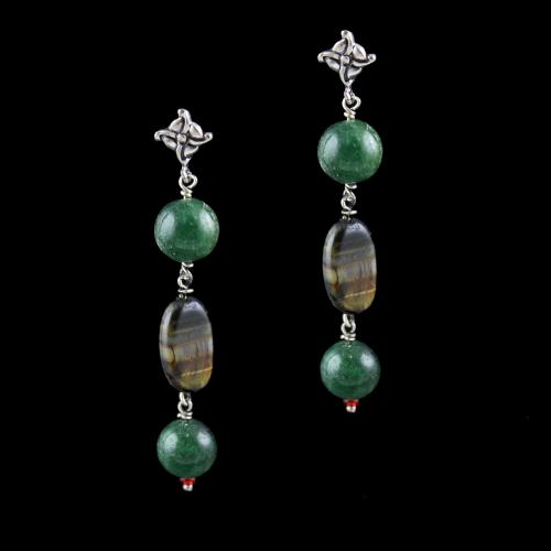 OXIDIZED SILVER EARRINGS WITH MALACHITE AND QUARTZ BEADS