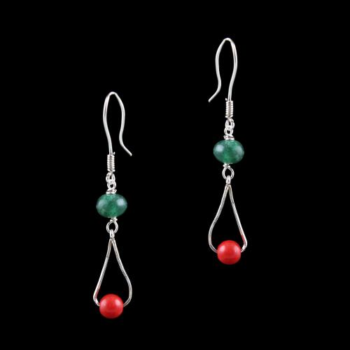 OXIDEZED SILVER HANGING EARRINGS WITH SEMI PRECIOUS STONES