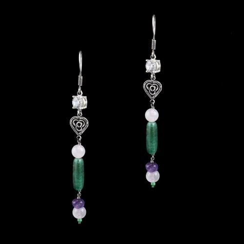 OXIDIZED SILVER HANGING EARRINGS WITH MULTI COLOR STONES