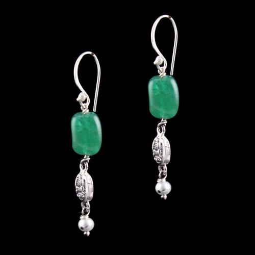 OXIDIZED SILVER HANGING EARRINGS WITH JADE BEADS AND PEARLS