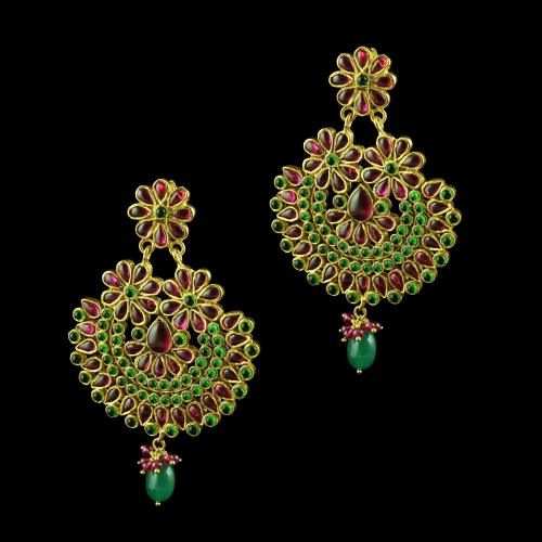 GOLD PLATED FLORAL EARRINGS WITH RED AND GREEN ONYX