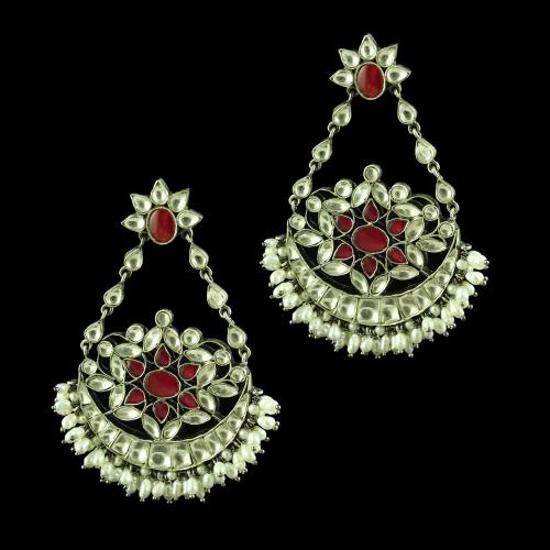 OXIDIZED SILVER KUNDAN STONE CHANDBALI WITH PERAL