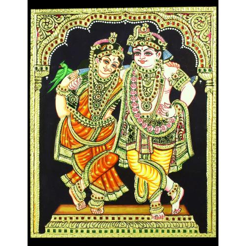 TANJORE PAINTING KRISHNA WITH RUKMINI