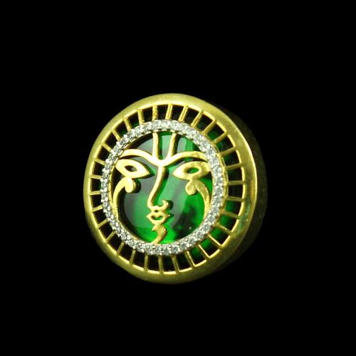 GOLD PLATED CUFFLINK WITH EMERALD
