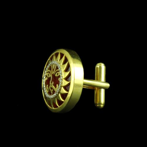 GOLD PLATED CUFFLINK WITH RUBY