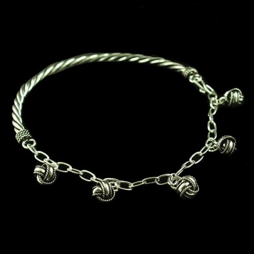 OXIDIZED SILVER ELEPHANT HANGING ANKLETS