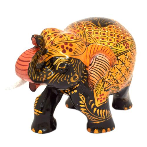 WOODEN ELEPHANT MINIATURE PAINTED