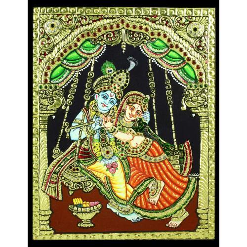 TANJORE PAINTING RADHA KRISHNA WITH JHULA