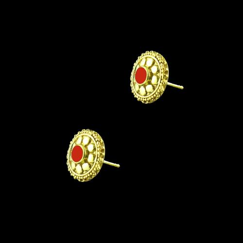 GOLD PLATED FLORAL EARRINGS WITH CORAL