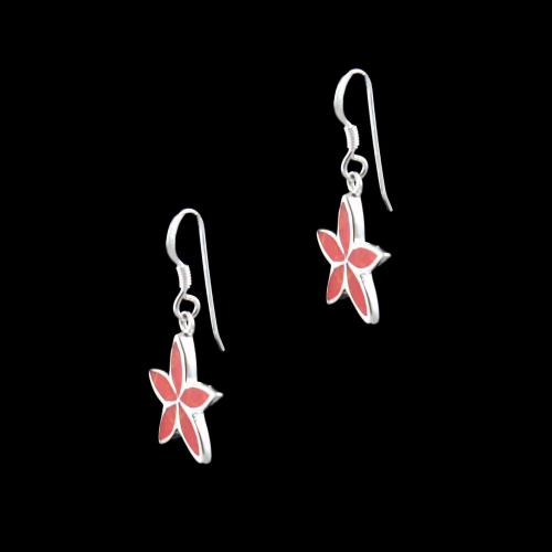 OXIDIZED SILVER HANGING EARRINGS WITH CORAL