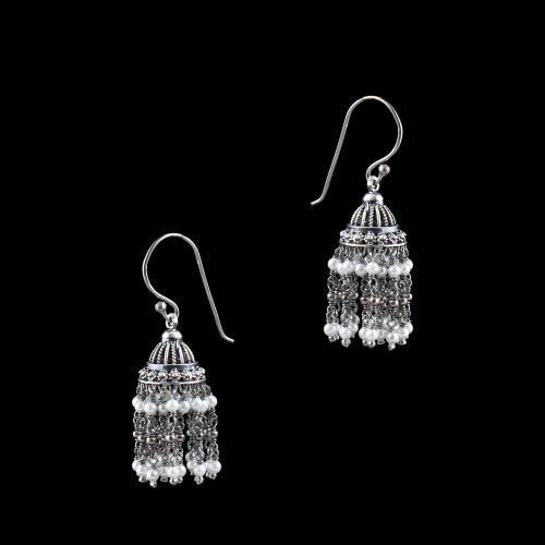 OXIDIZED SILVER JHUMKA WITH PEARL