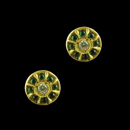 GOLD PLATED EMERALD AND CZ EARRINGS