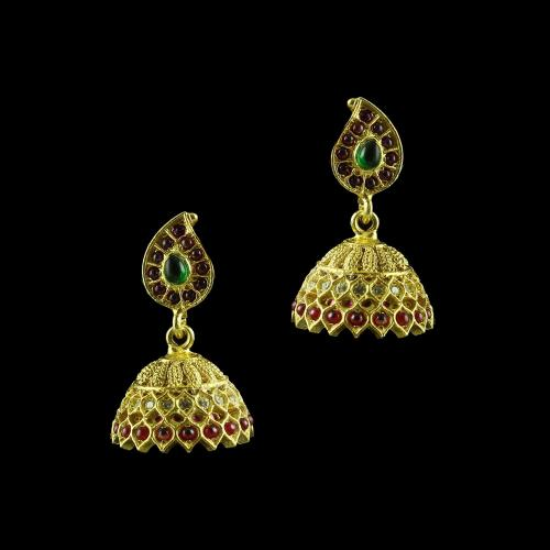 GOLD PLATED MULTI COLOR STONE JHUMKA EARRINGS