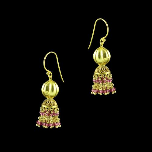 GOLD PLATED JHUMKA HANGING EARRINGS WITH PINK HYDRO