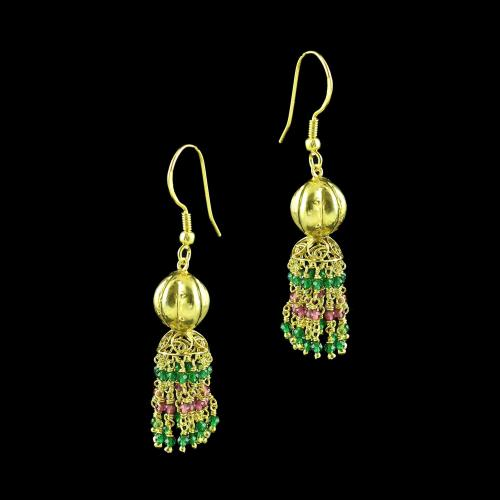 GOLD PLATED JHUMKA HANGING EARRINGS WITH GREEN AND PINK HYDRO