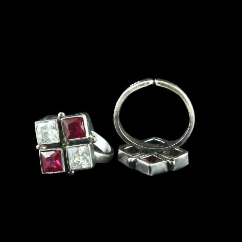 OXIDIZED SILVER RED AND WHITE CZ TOE RINGS