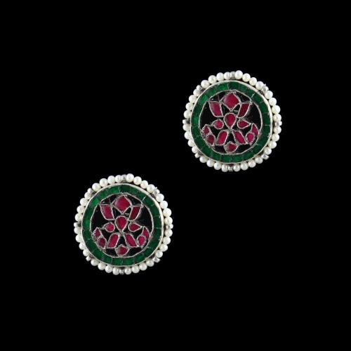 Sterling Silver Fancy Design Earring Casual Studded Zircon Stones
