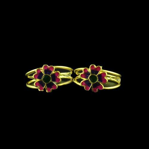 Enamel Floral Design Toe Ring