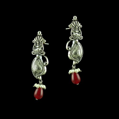 OXIDIZED LAKSHMI DROPS EARRINGS WITH RUBY AND PEARLS