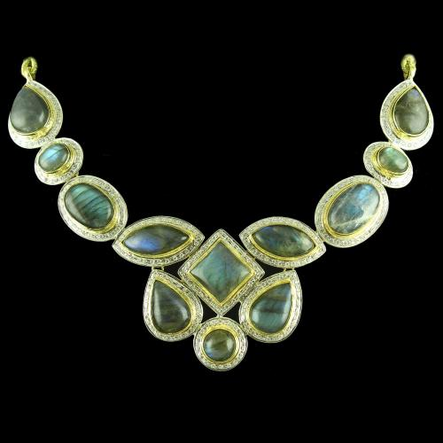 GOLD PLATED NECKLACE WITH CZ LABRADORITE STONES