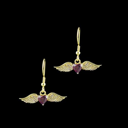 GOLD PLATED RED SWAROVSKI FLYING HEART EARRINGS