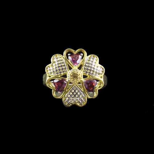 GOLD PLATED RED SWAROVSKI FLYING HEART RING