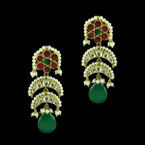 GOLD PLATED BRIDAL  EARRINGS WITH ONYX AND PEARLS