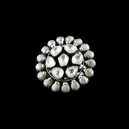 OXIDIZED SILVER KUNDAN RING