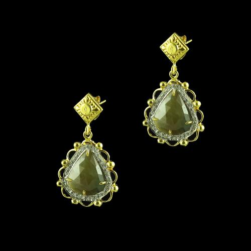 GOLD PLATED CURVED FLORAL AGATE AND CZ EARRINGS