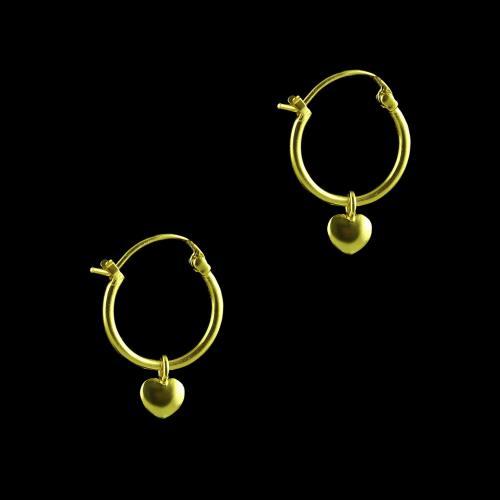 GOLD PLATED HEART SHAPE BALI EARRINGS