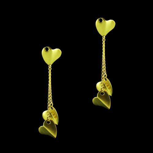 E5648 Sterling Silver Gold Plated Heart Shape Earrings