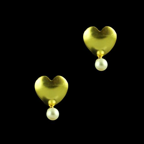 E5647 Sterling Silver Gold Plated Heart Shape Earrings